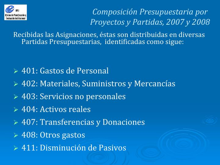 Composición Presupuestaria por Proyectos y Partidas, 2007 y 2008