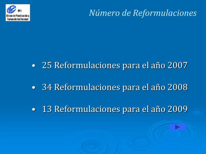 Número de Reformulaciones