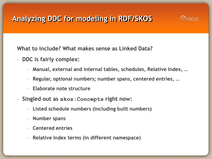 Analyzing DDC for modeling in RDF/SKOS