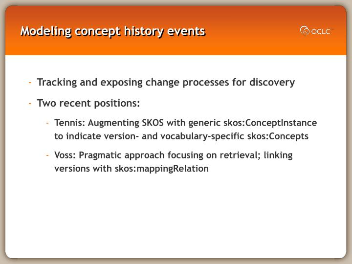 Modeling concept history events