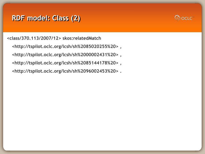 RDF model: Class (2)