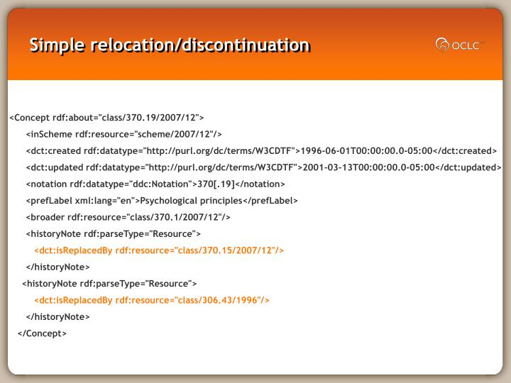 Simple relocation/discontinuation