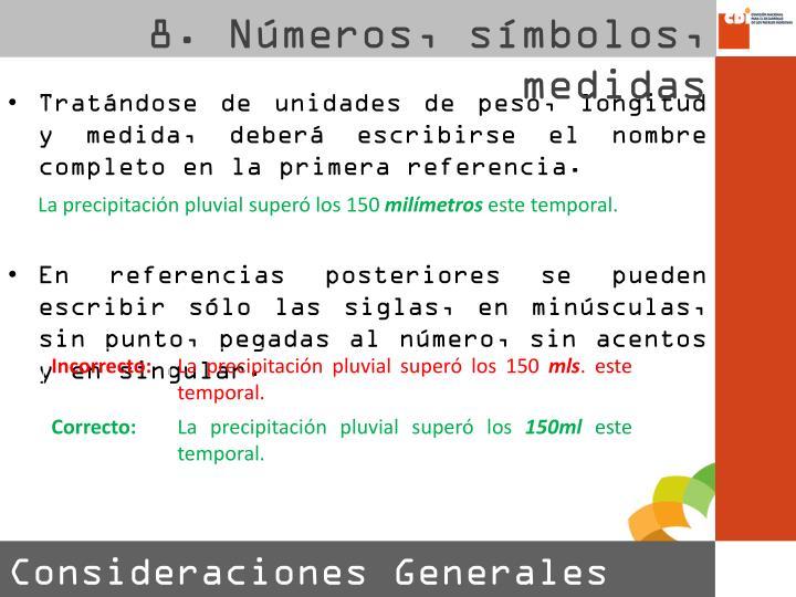8. Números, símbolos, medidas
