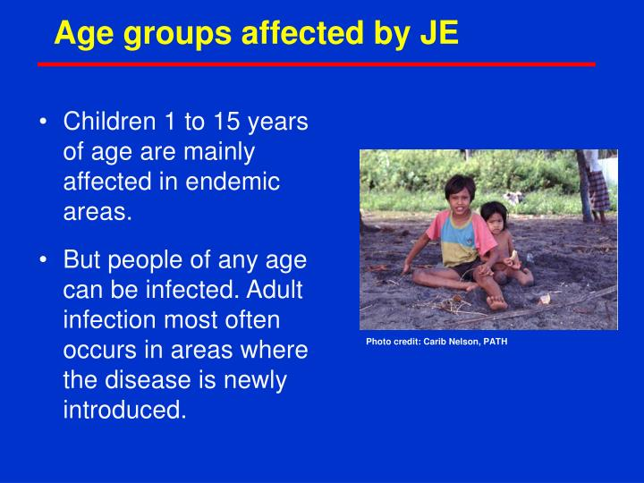 Age groups affected by JE