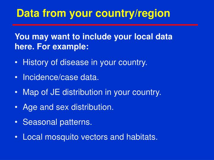 Data from your country/region
