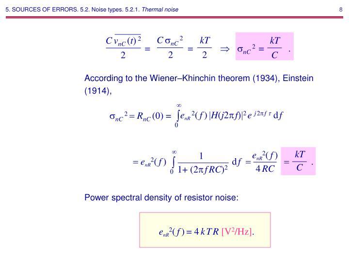 According to the Wiener–Khinchin theorem (1934), Einstein (1914),