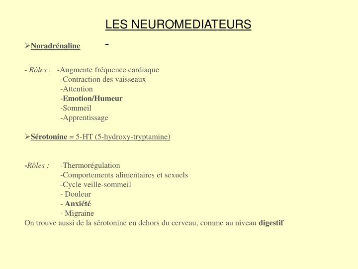 LES NEUROMEDIATEURS