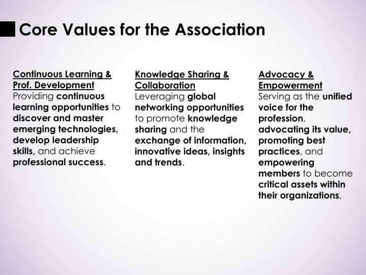 Core Values for the Association