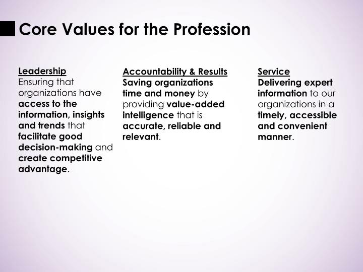 Core Values for the Profession