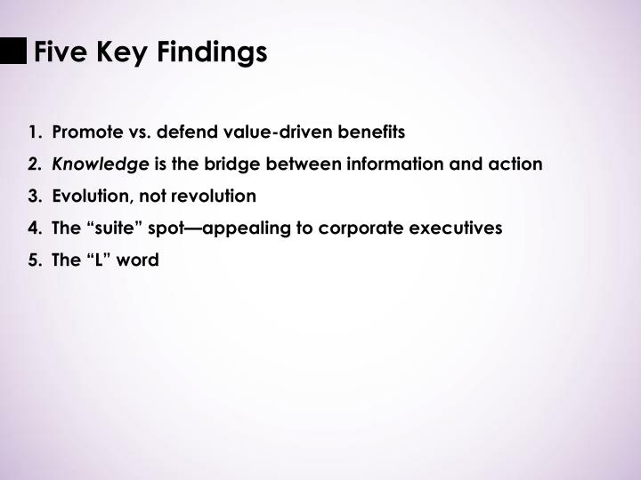Five Key Findings