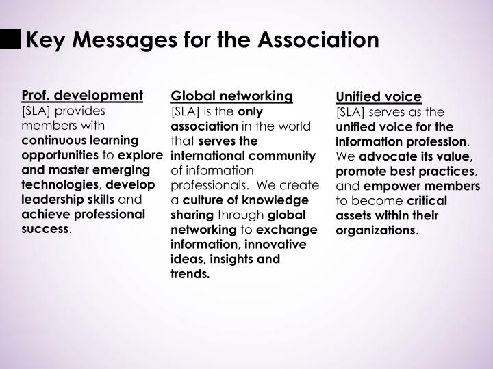 Key Messages for the Association