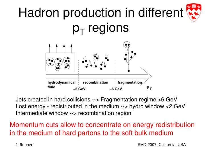Hadron production in different p