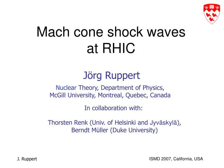 Mach cone shock waves at rhic