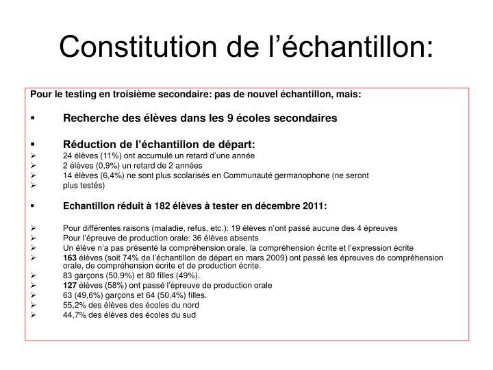Constitution de l'échantillon: