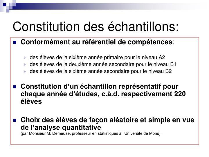Constitution des échantillons: