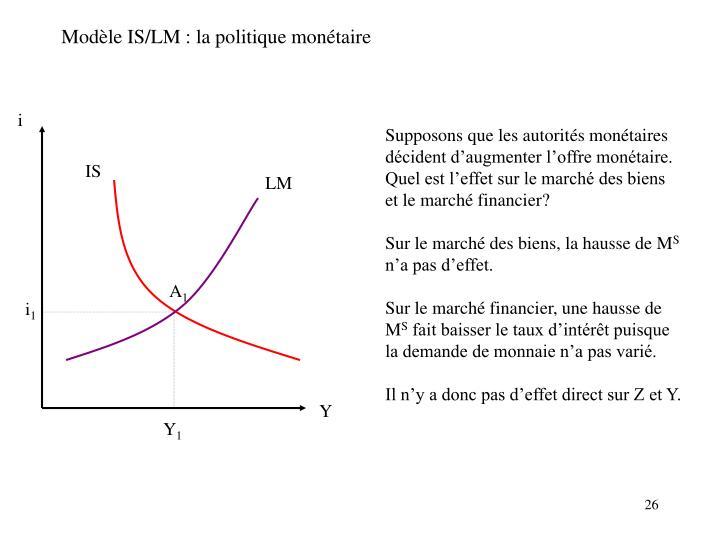 Modèle IS/LM : la politique monétaire