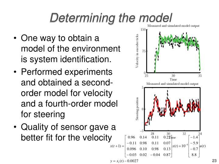 Determining the model