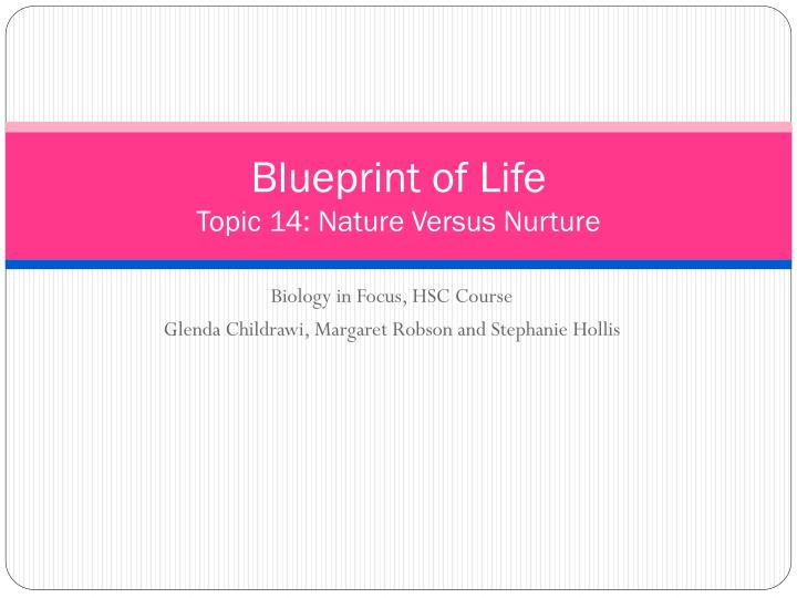 Blueprint of life topic 14 nature versus nurture