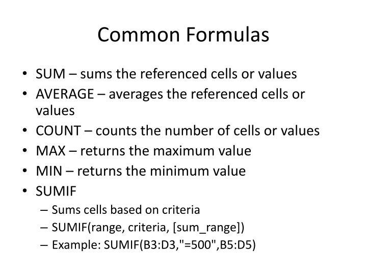 Common Formulas