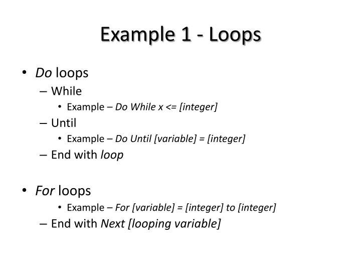 Example 1 - Loops