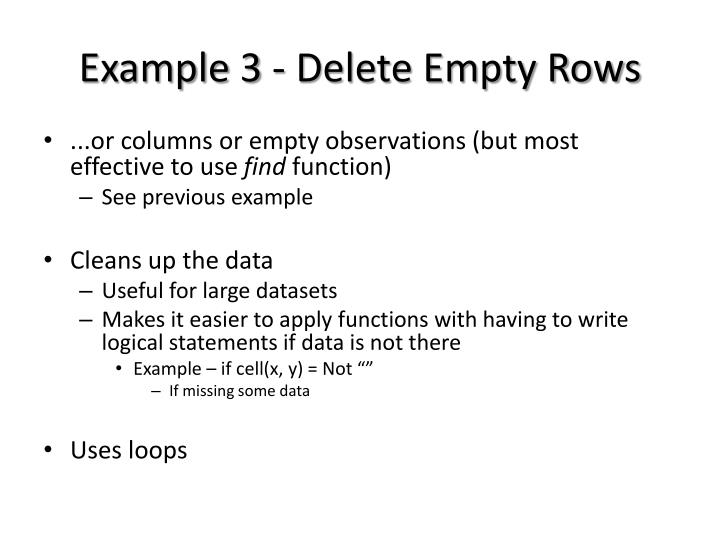 Example 3 - Delete Empty Rows