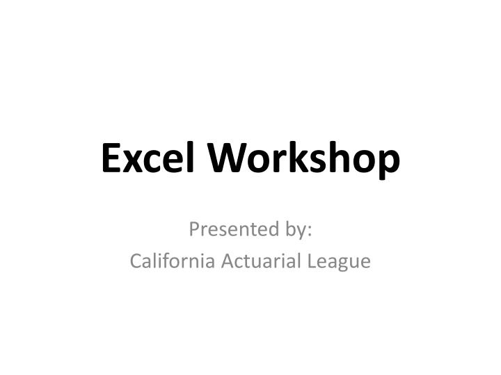 Excel workshop