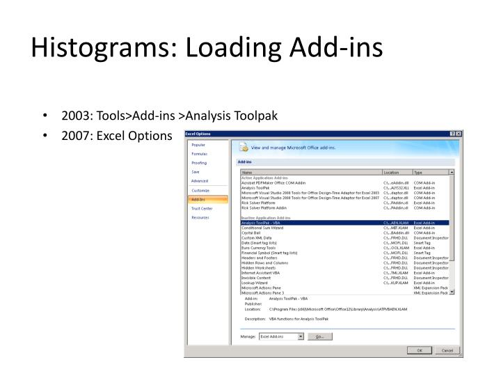 Histograms: Loading Add-ins