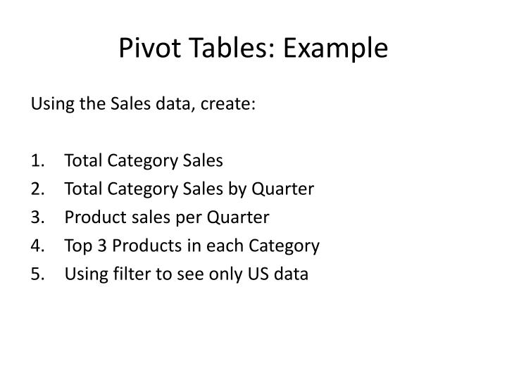 Pivot Tables: Example