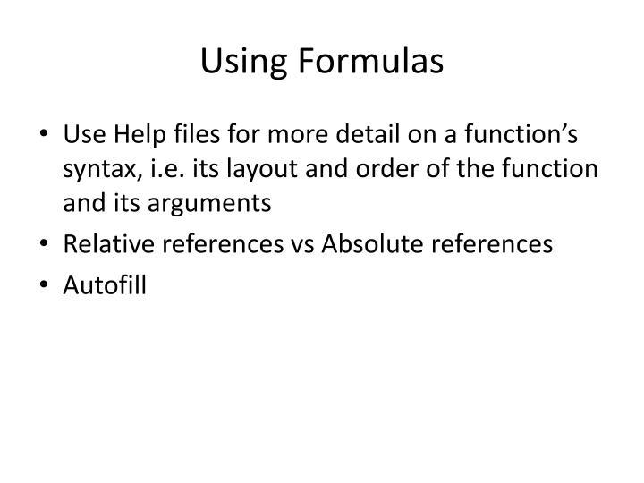 Using Formulas