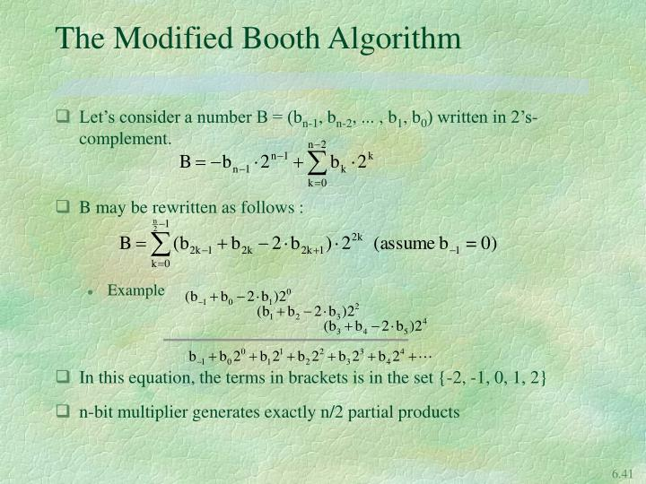 The Modified Booth Algorithm
