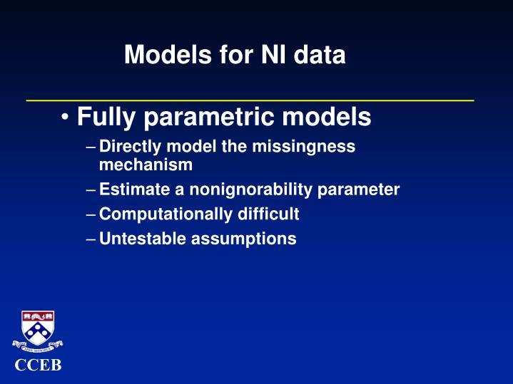 Models for NI data