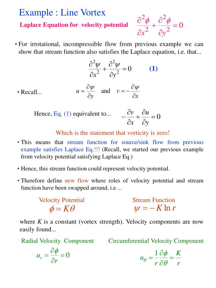 Laplace Equation for  velocity potential