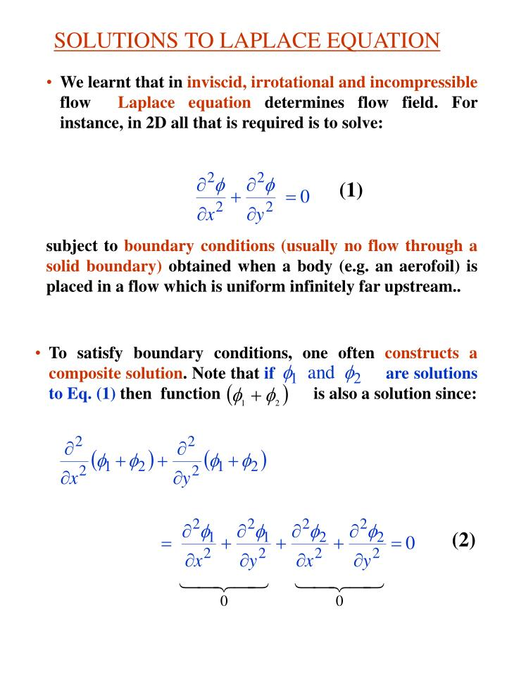 Solutions to laplace equation
