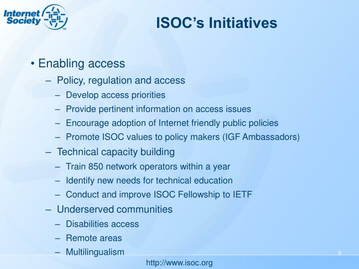 ISOC's Initiatives