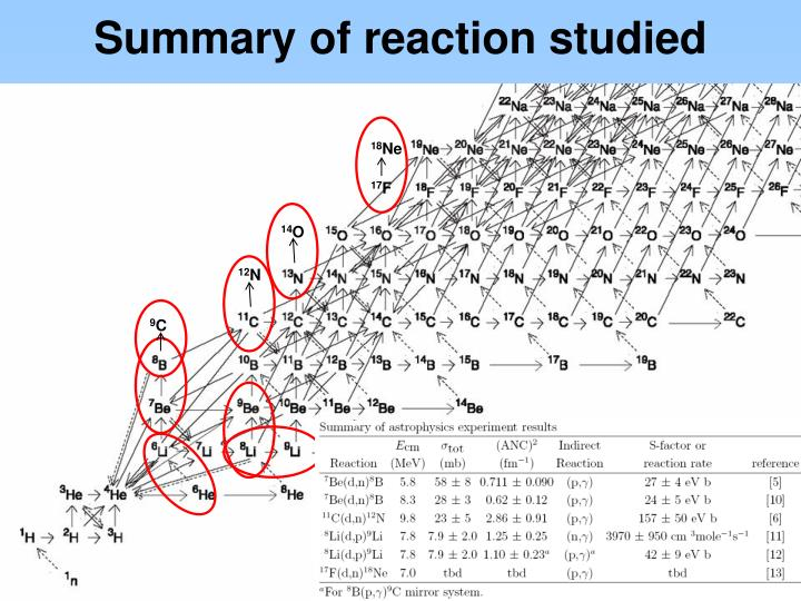 Summary of reaction studied