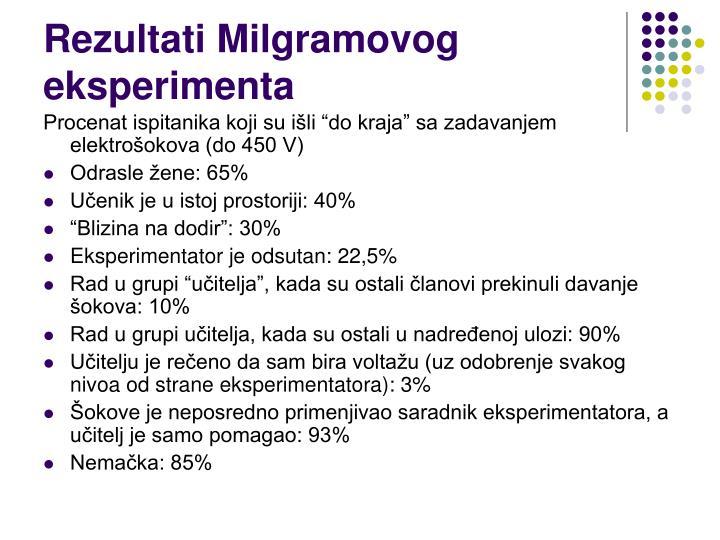 Rezultati Milgramovog eksperimenta