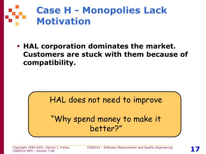 Case H - Monopolies Lack Motivation