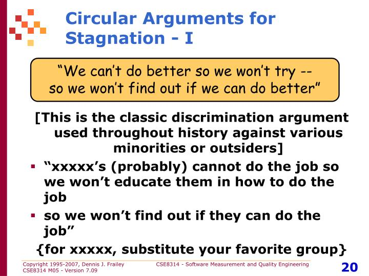 Circular Arguments for Stagnation - I