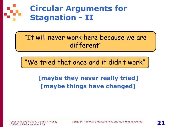 Circular Arguments for Stagnation - II
