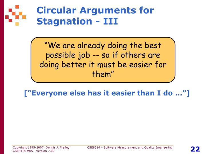 Circular Arguments for Stagnation - III