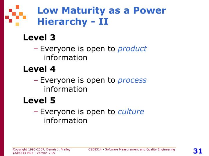 Low Maturity as a Power Hierarchy - II