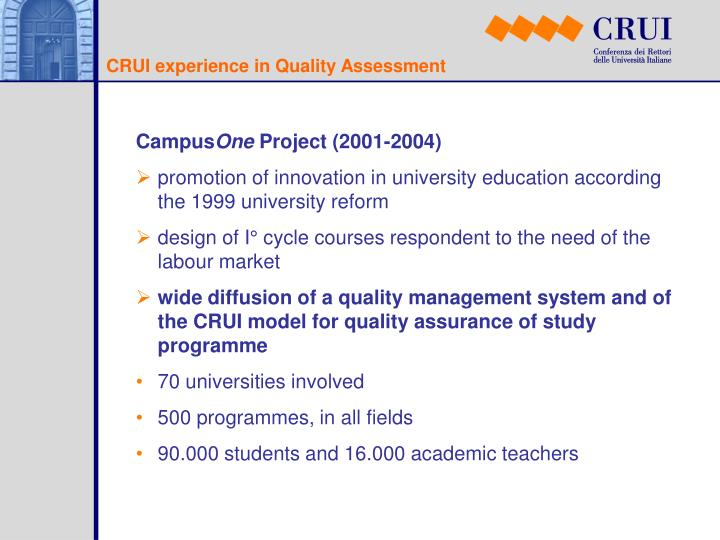 CRUI experience in Quality Assessment
