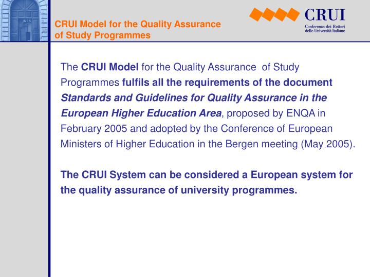 CRUI Model for the Quality Assurance