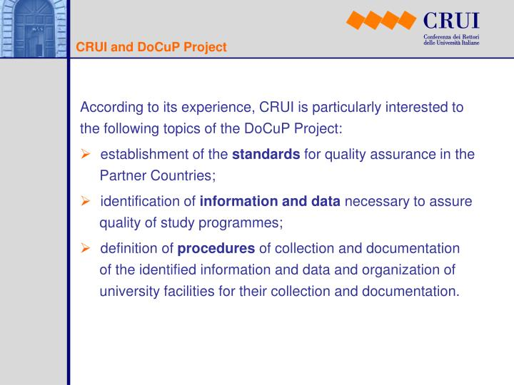 CRUI and DoCuP Project