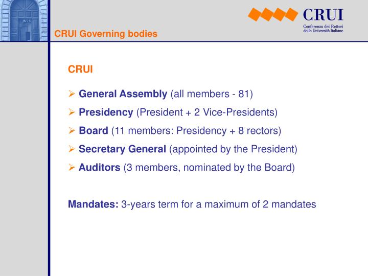 CRUI Governing bodies