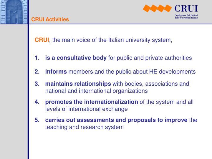 CRUI Activities