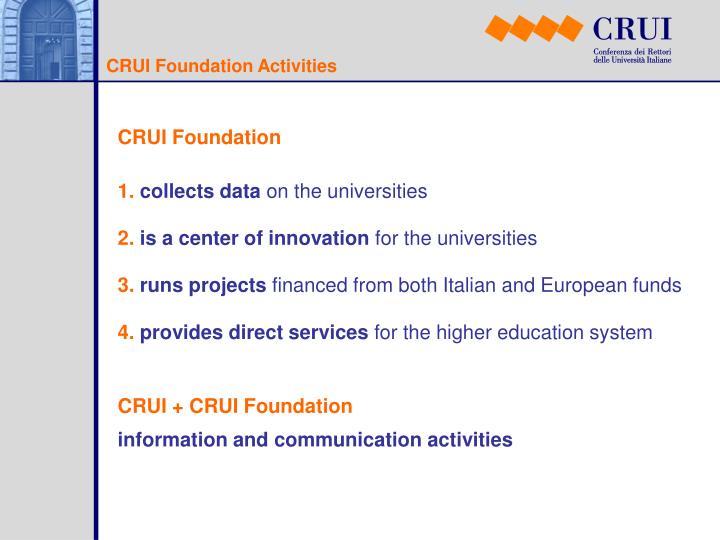 CRUI Foundation Activities