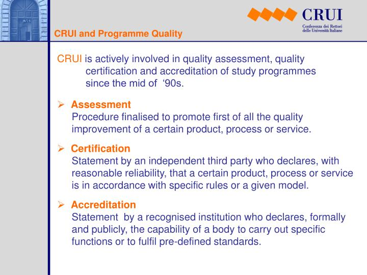 CRUI and Programme Quality
