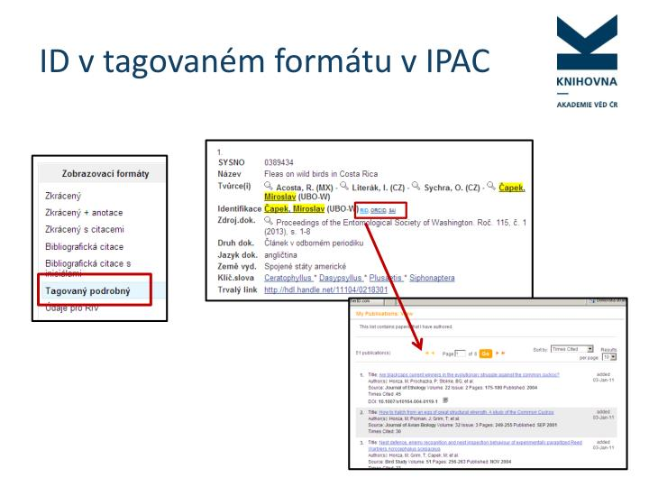 ID v tagovaném formátu v IPAC