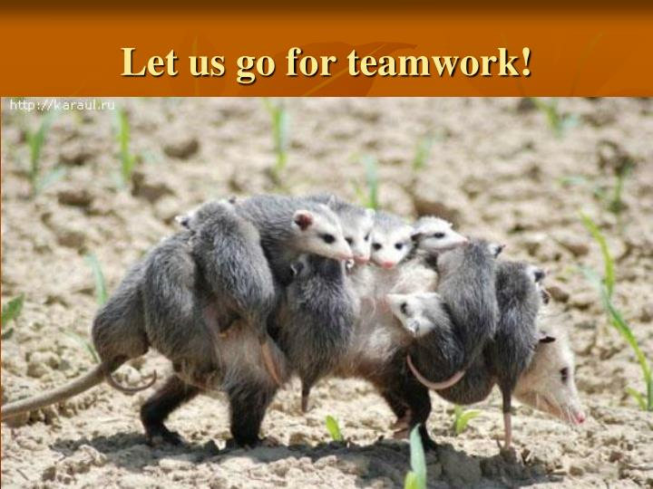 Let us go for teamwork!